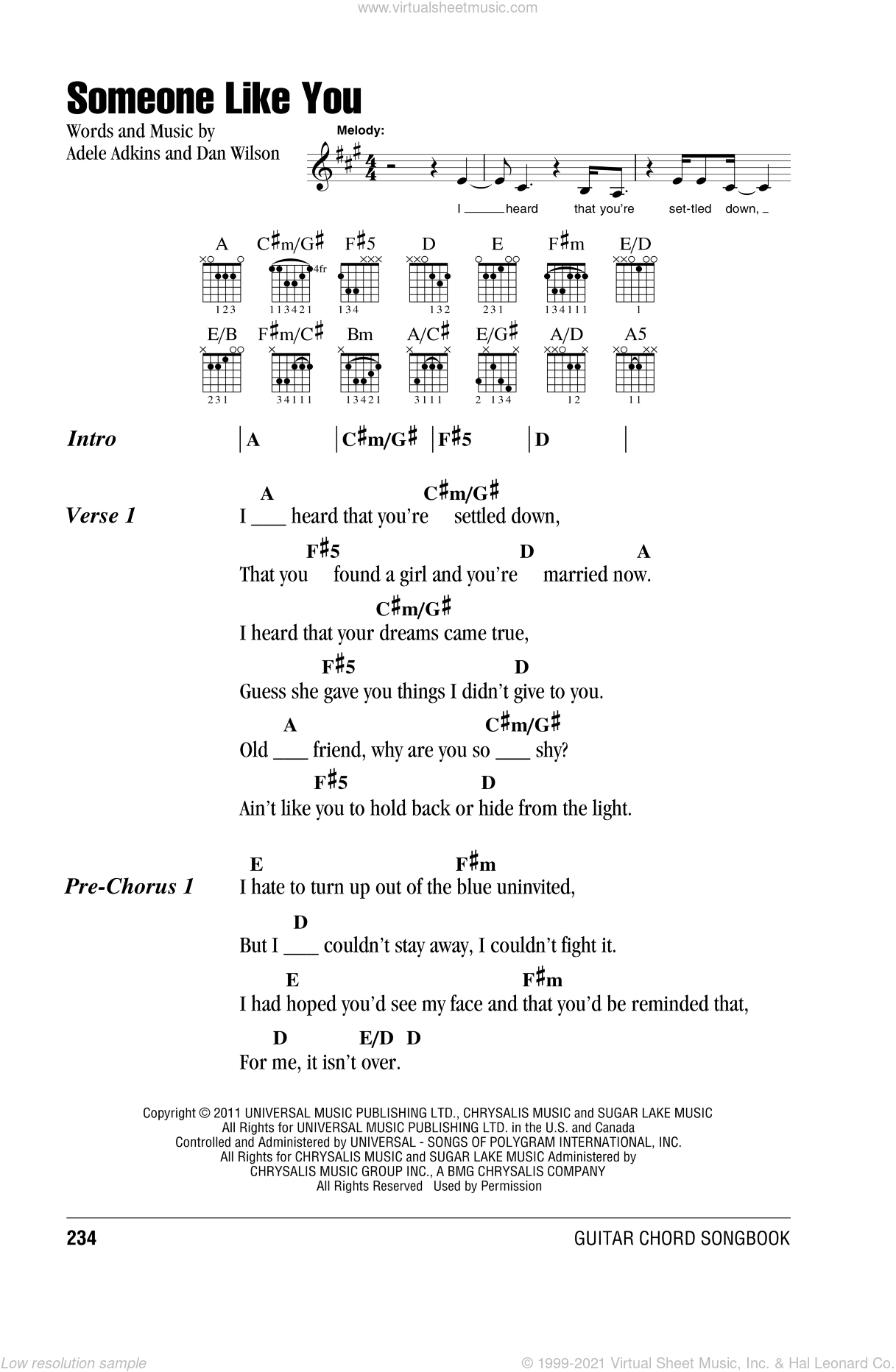 Someone Like You sheet music for guitar (chords) by Adele, Adele Adkins and Dan Wilson, intermediate skill level