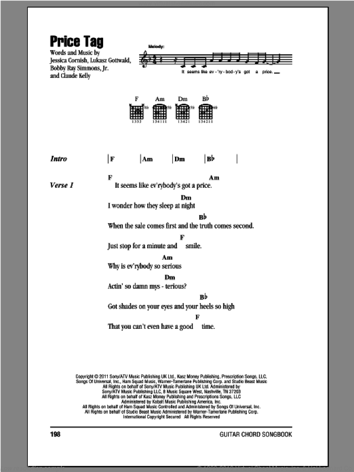 Price Tag sheet music for guitar (chords, lyrics, melody) by Jessica Cornish