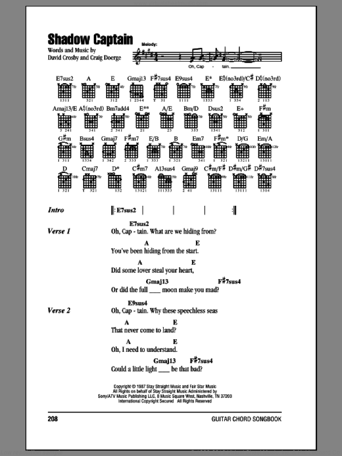 Nash - Shadow Captain sheet music for guitar (chords) [PDF]