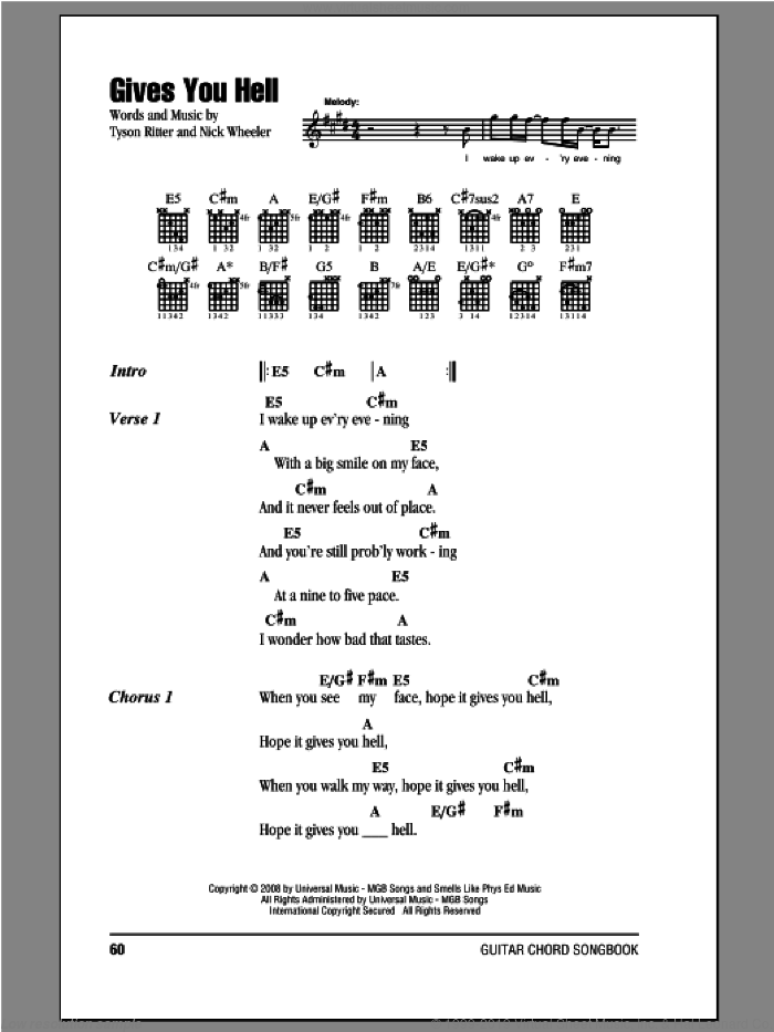 Gives You Hell sheet music for guitar (chords, lyrics, melody) by Tyson Ritter