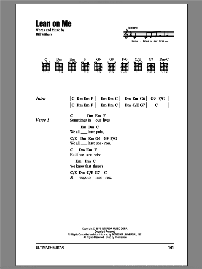 Lean On Me sheet music for guitar (chords) by Bill Withers, intermediate. Score Image Preview.