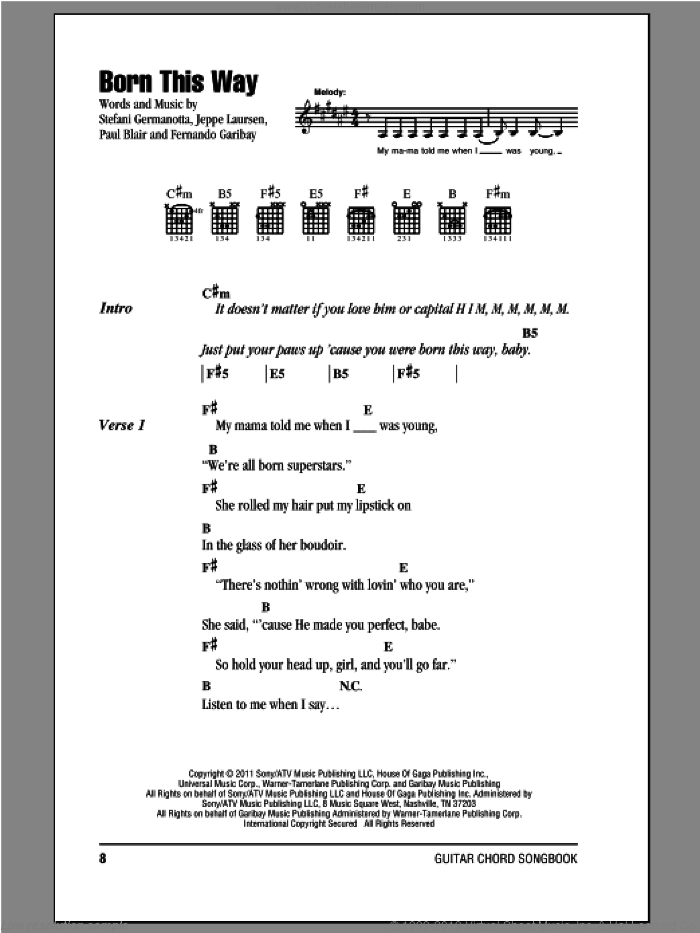 Born This Way sheet music for guitar (chords) by Lady Gaga. Score Image Preview.