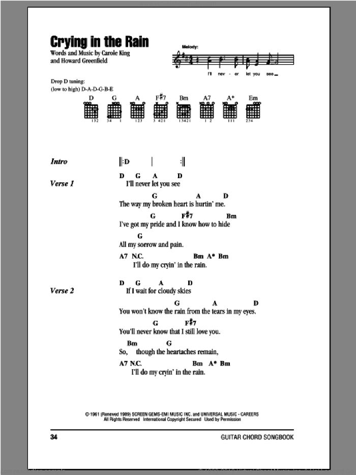 Crying In The Rain sheet music for guitar (chords) by Everly Brothers, Carole King and Howard Greenfield, intermediate guitar (chords). Score Image Preview.