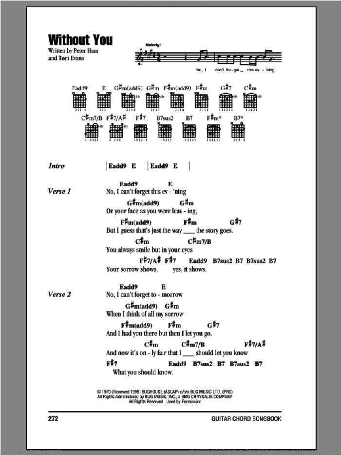 Badfinger - Without You sheet music for guitar (chords) [PDF]