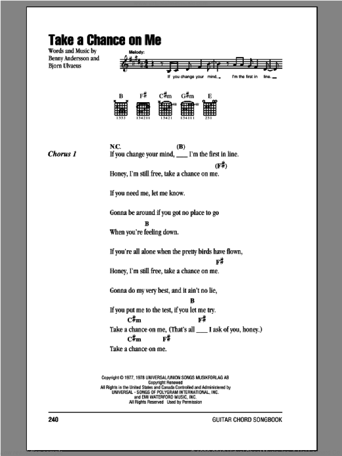 ABBA - Take A Chance On Me sheet music for guitar (chords)