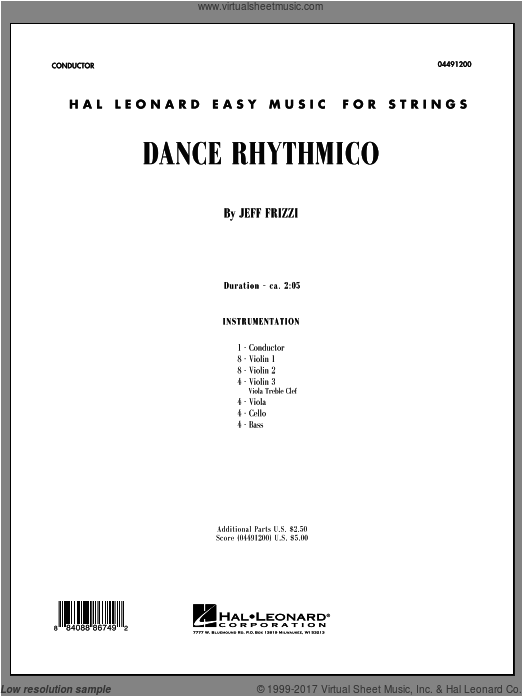 Dance Rhythmico (COMPLETE) sheet music for orchestra by Jeff Frizzi