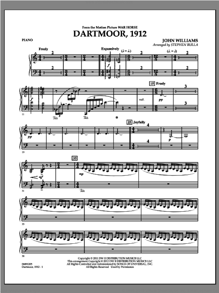 Dartmoor, 1912 (from War Horse) sheet music for orchestra (orchestra, piano) by John Williams