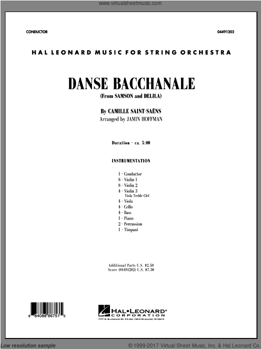 Danse Bacchanale (from Samson And Delila) (COMPLETE) sheet music for orchestra by Camille Saint-Saens