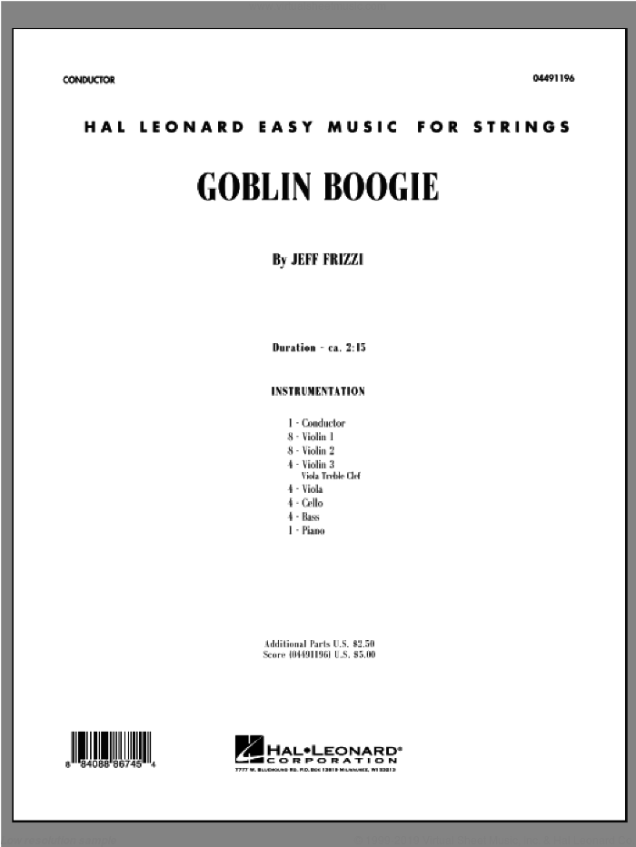 Goblin Boogie sheet music for orchestra (full score) by Jeff Frizzi