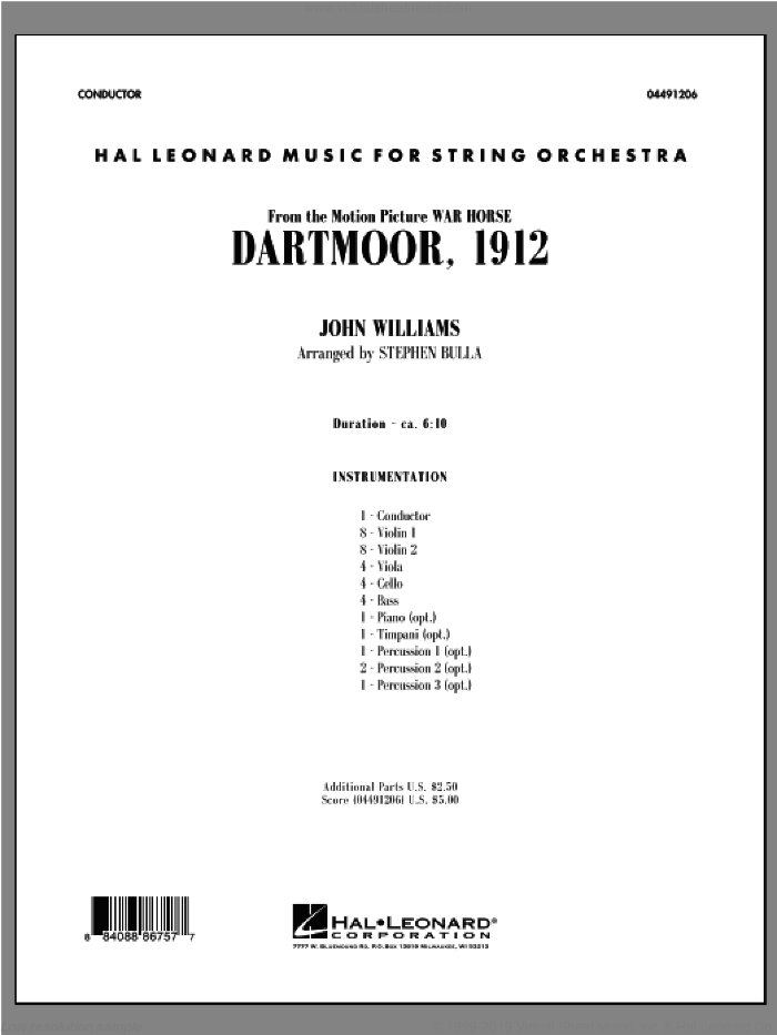 Dartmoor, 1912 (from 'War Horse') (COMPLETE) sheet music for orchestra by John Williams and Stephen Bulla, intermediate skill level
