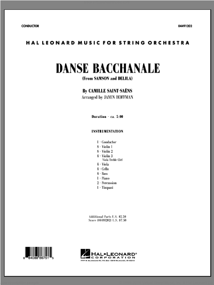 Danse Bacchanale (from Samson And Delila) (COMPLETE) sheet music for orchestra by Camille Saint-Saens and Jamin Hoffman, classical score, intermediate