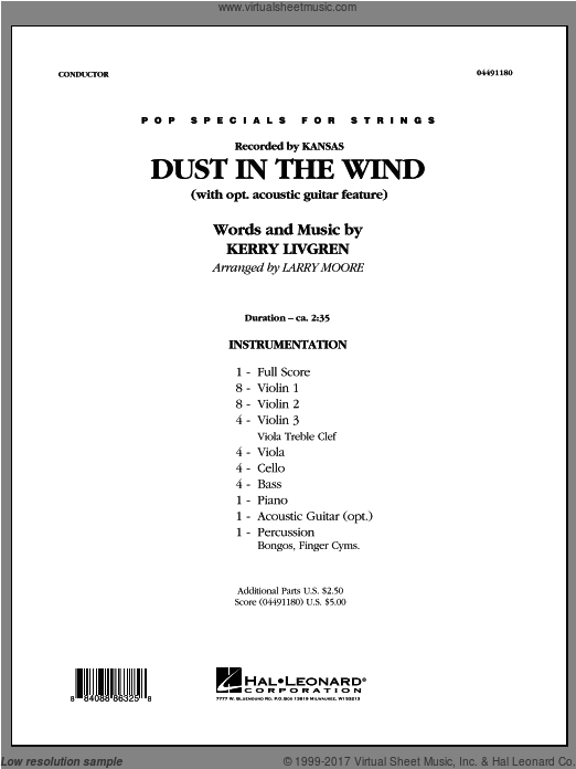 Dust In The Wind (COMPLETE) sheet music for orchestra by Kerry Livgren