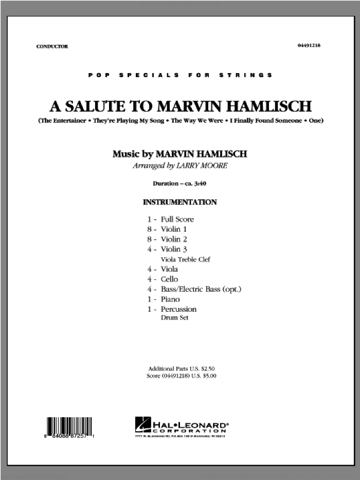 A Salute To Marvin Hamlisch (COMPLETE) sheet music for orchestra by Marvin Hamlisch and Larry Moore, intermediate skill level