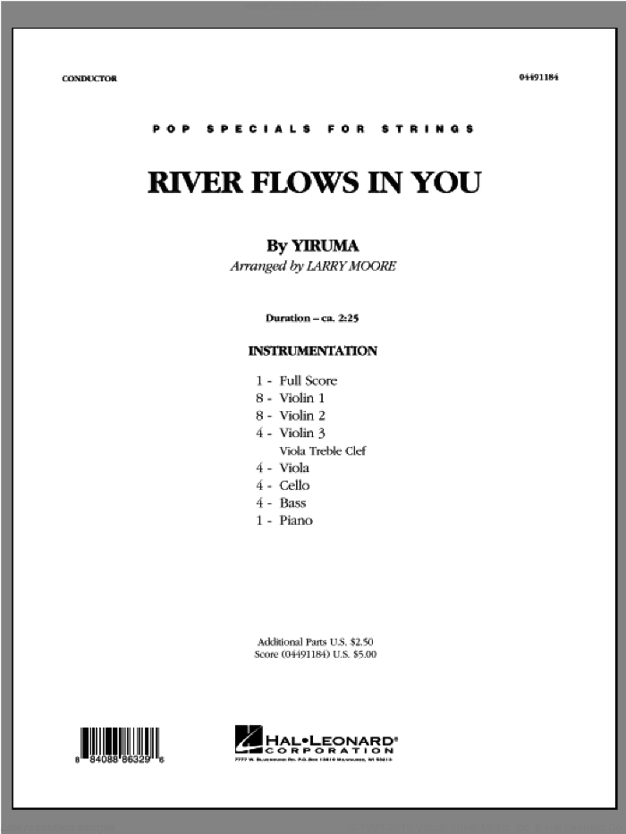 River Flows In You (COMPLETE) sheet music for orchestra by Larry Moore and Yiruma, intermediate skill level