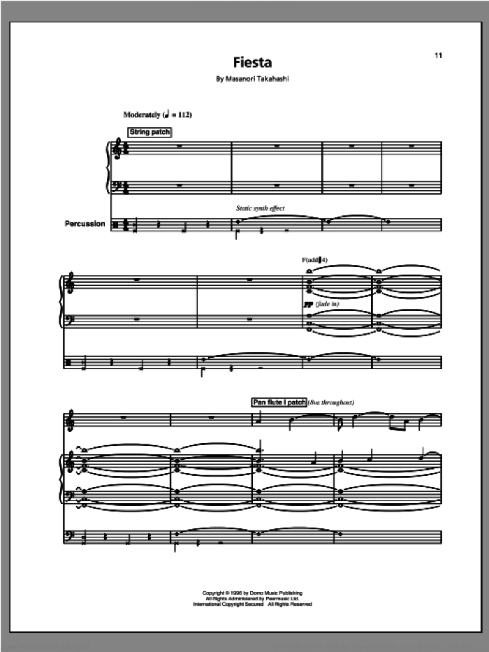 Fiesta/Space Queen (Space 2) sheet music for voice and piano by Kitaro, intermediate. Score Image Preview.