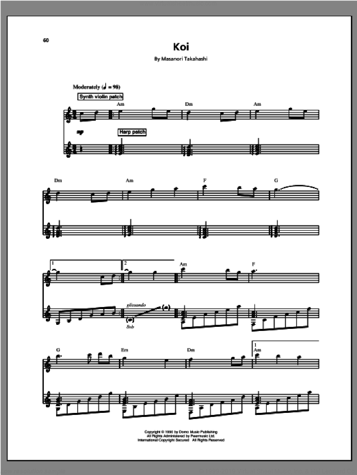 Koi sheet music for voice and piano by Masanori Takahashi. Score Image Preview.