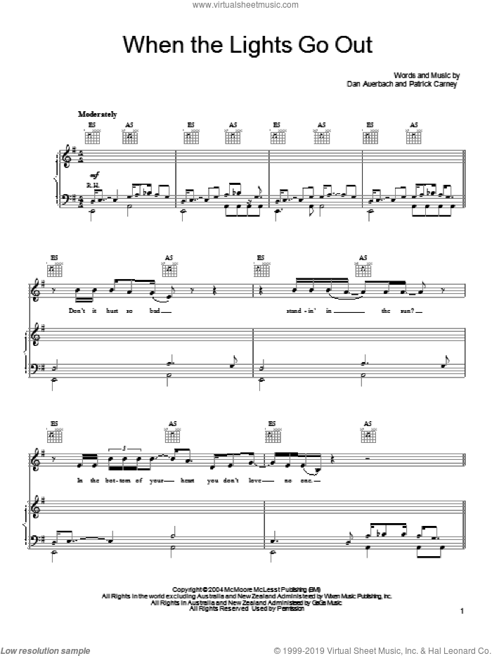 When The Lights Go Out sheet music for voice, piano or guitar by The Black Keys and Daniel Auerbach. Score Image Preview.