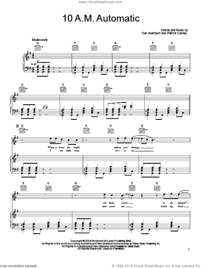 10 A.M. Automatic sheet music for voice, piano or guitar by Patrick Carney and Daniel Auerbach. Score Image Preview.