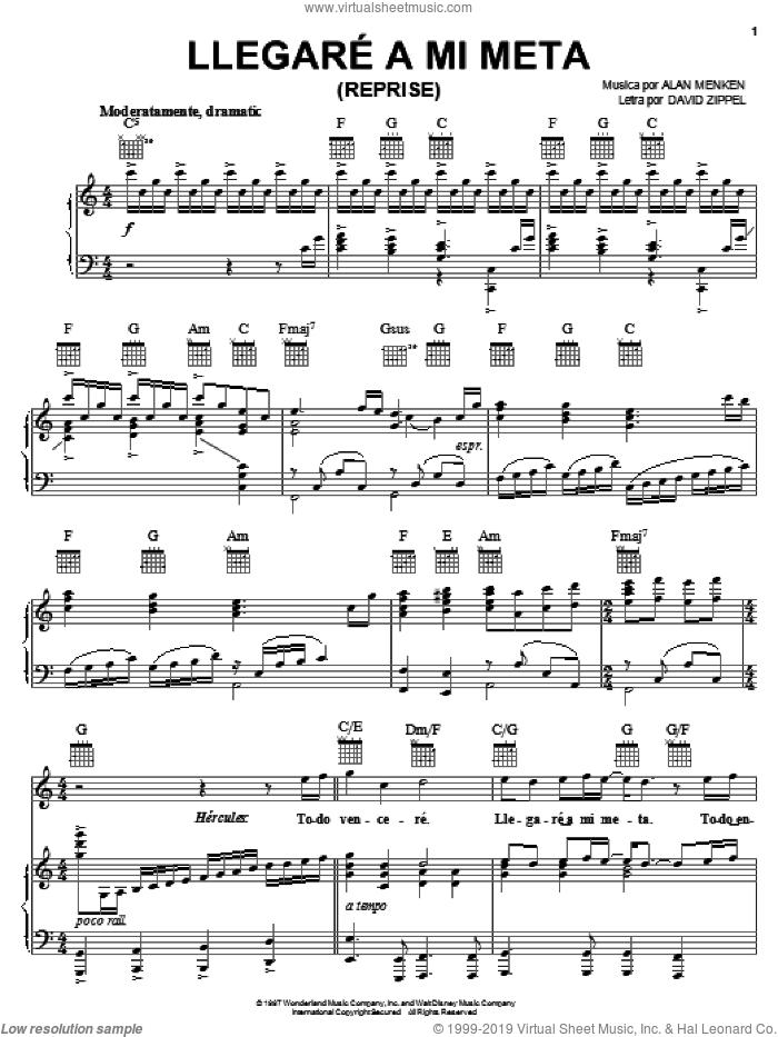 Llegare A Mi Meta (Reprise) sheet music for voice, piano or guitar by Alan Menken and David Zippel, intermediate skill level