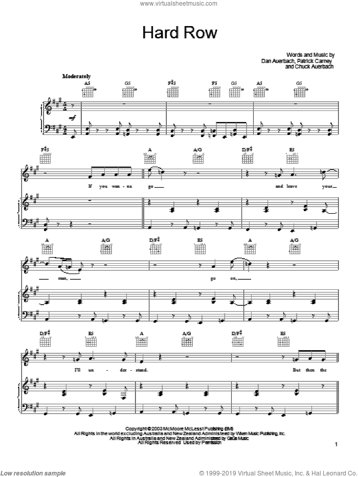 Hard Row sheet music for voice, piano or guitar by Patrick Carney and Daniel Auerbach. Score Image Preview.