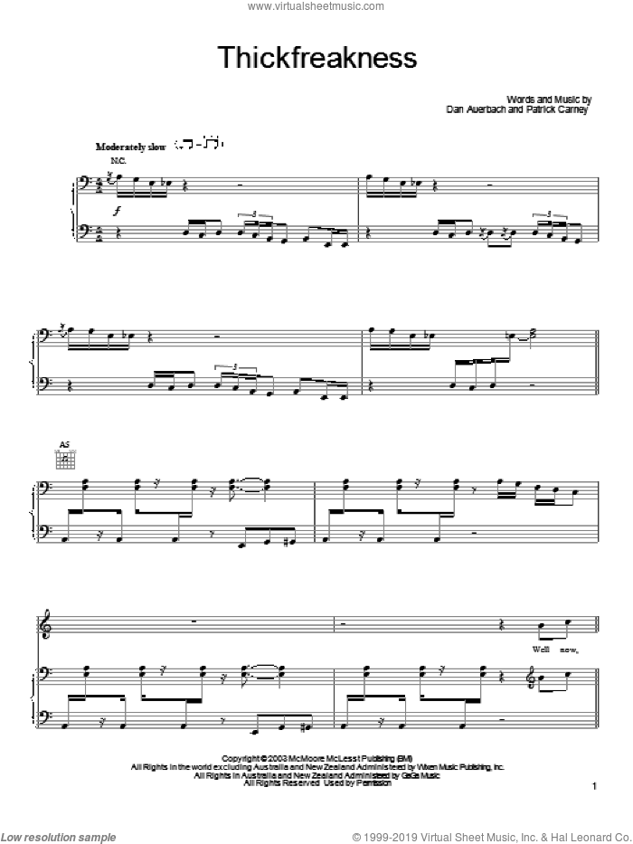 Thickfreakness sheet music for voice, piano or guitar by Patrick Carney and Daniel Auerbach. Score Image Preview.