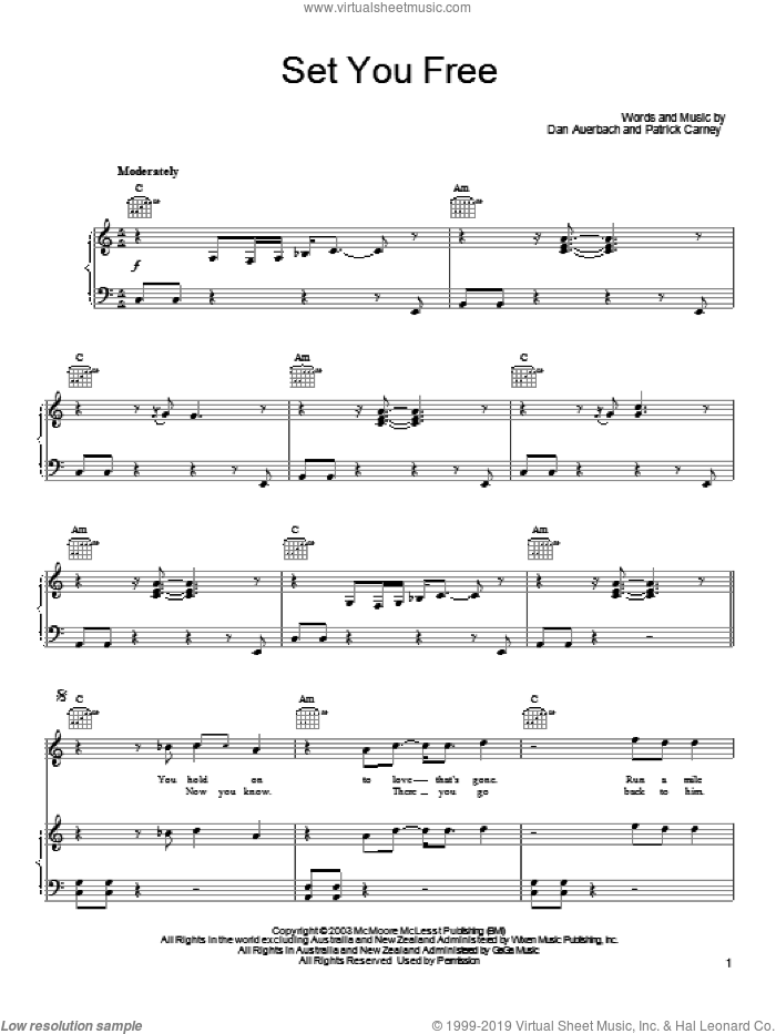 Set You Free sheet music for voice, piano or guitar by Patrick Carney