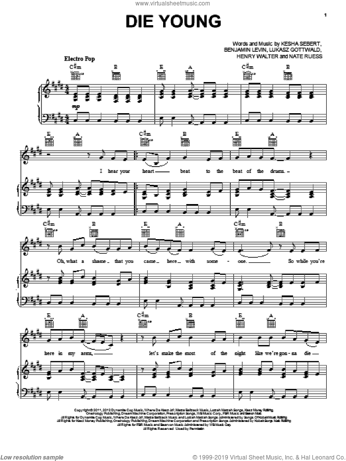 Die Young sheet music for voice, piano or guitar by Ke$ha, Benjamin Levin, Henry Walter, Kesha, Kesha Sebert, Lukasz Gottwald and Nate Ruess, intermediate skill level