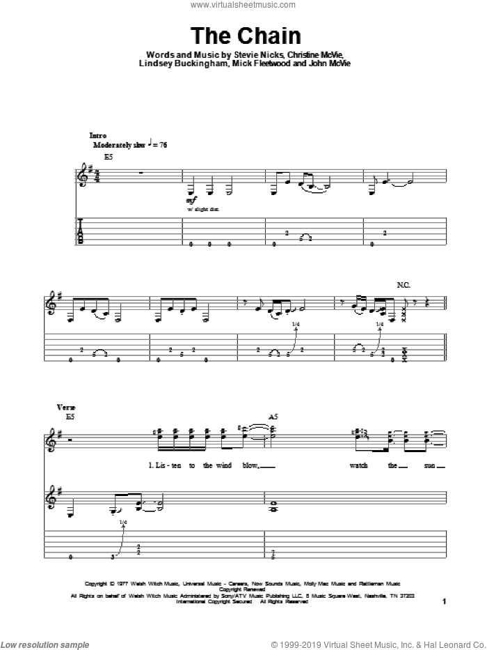 The Chain sheet music for guitar (tablature, play-along) by Stevie Nicks, Fleetwood Mac and Mick Fleetwood. Score Image Preview.