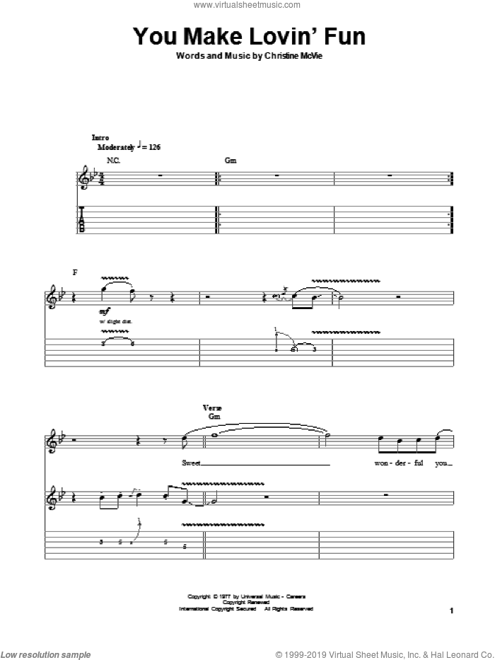 You Make Lovin' Fun sheet music for guitar (tablature, play-along) by Fleetwood Mac, intermediate. Score Image Preview.