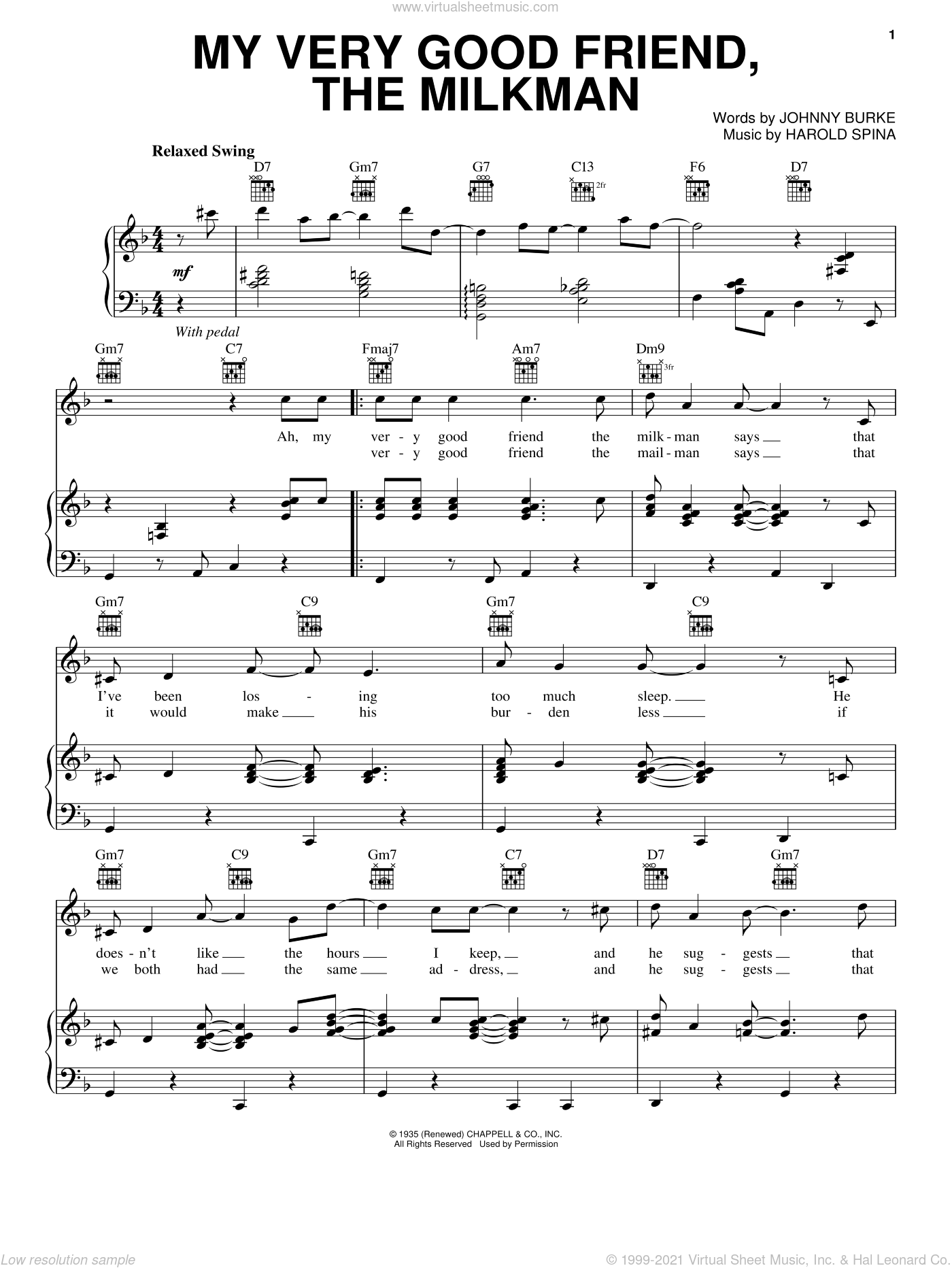 My Very Good Friend, The Milkman sheet music for voice, piano or guitar by Paul McCartney, Harold Spina and John Burke, intermediate skill level