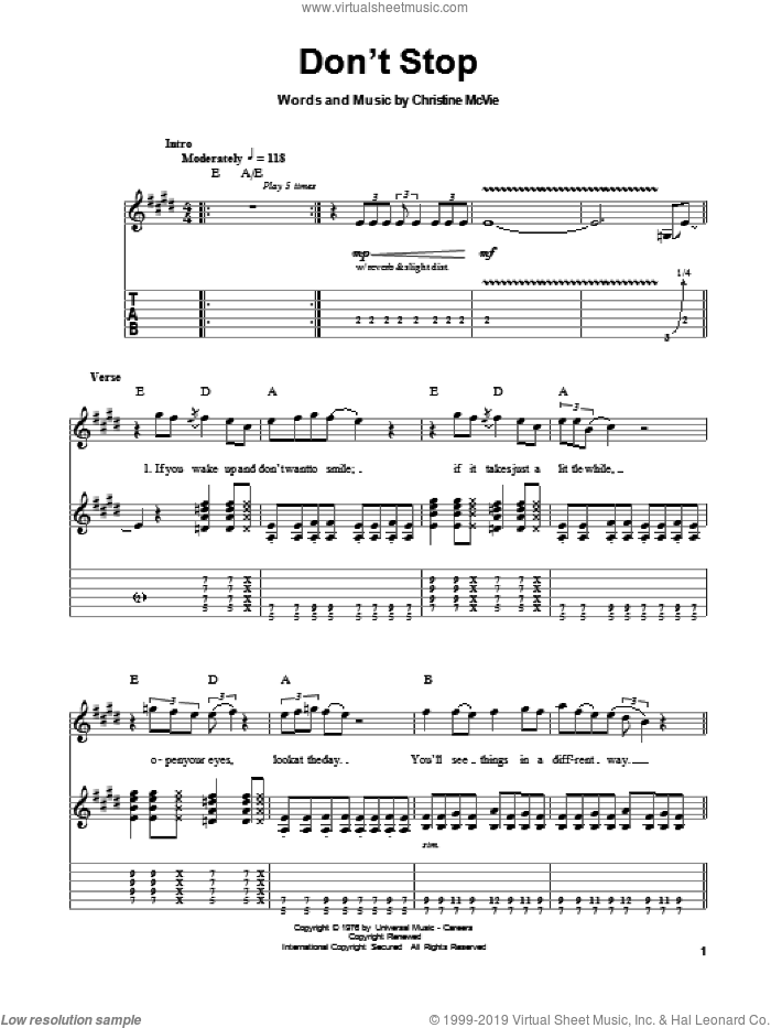 Don't Stop sheet music for guitar (tablature, play-along) by Fleetwood Mac and Christine McVie, intermediate. Score Image Preview.