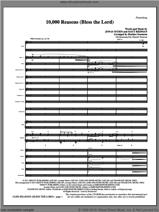 10,000 Reasons (Bless The Lord) (COMPLETE) sheet music for orchestra by Jonas Myrin, Heather Sorenson and Matt Redman. Score Image Preview.