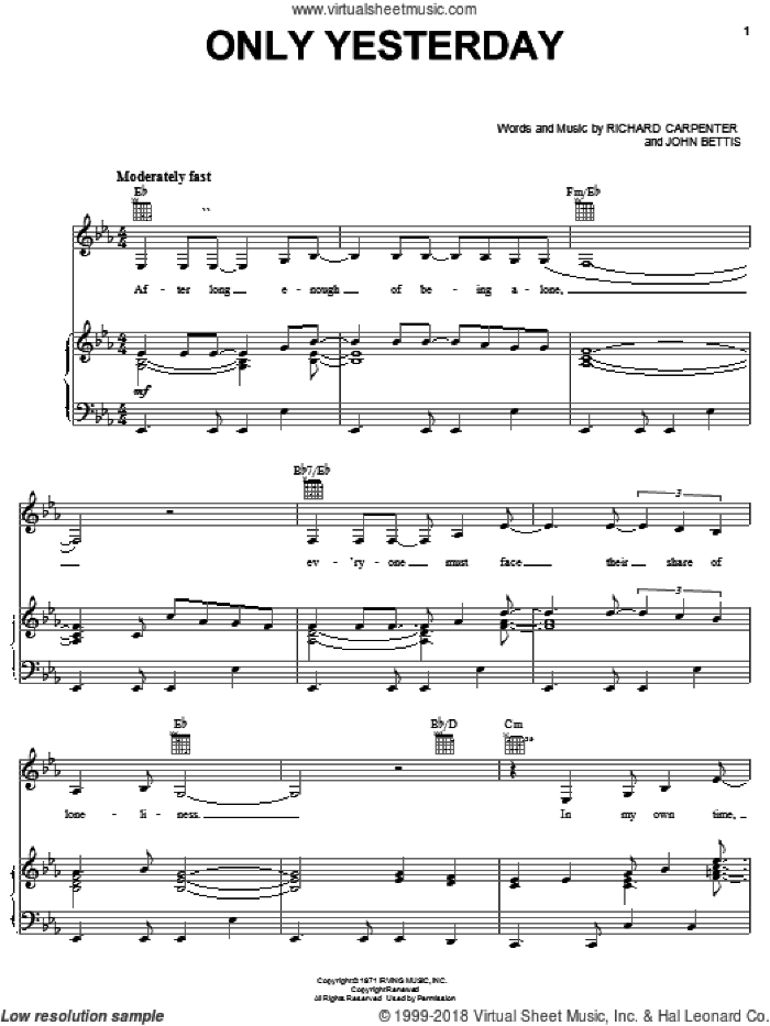 Carpenters Collection (complete set of parts) sheet music for voice, piano or guitar by Carpenters, John Bettis, John Lennon, Paul McCartney, Paul Williams, Richard Carpenter, Roger Nichols and The Beatles, wedding score, intermediate skill level