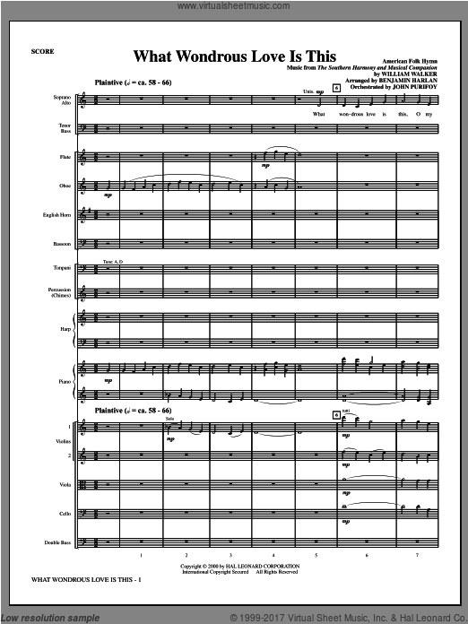 What Wondrous Love Is This (see Bonustrax 00102360) (COMPLETE) sheet music for orchestra