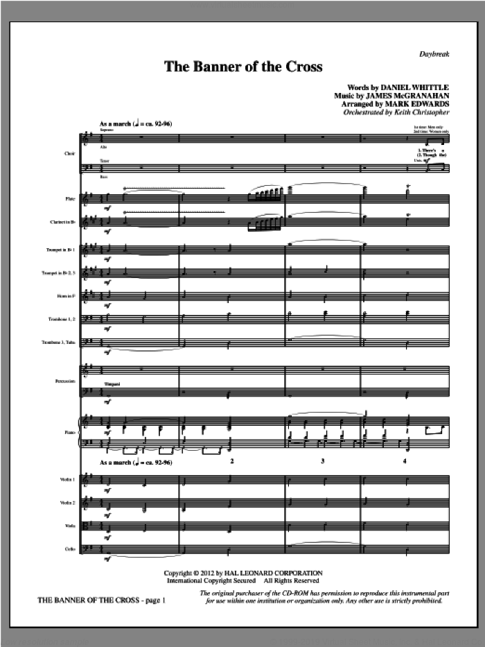 The Banner Of The Cross (complete set of parts) sheet music for orchestra/band (Orchestra) by James McGranahan, Daniel W. Whittle and Mark Edwards, intermediate. Score Image Preview.