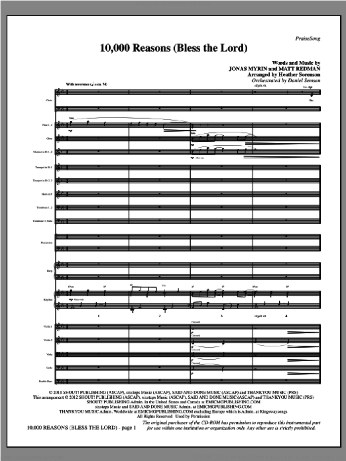 10,000 Reasons (Bless The Lord) (complete set of parts) sheet music for orchestra/band (Orchestra) by Heather Sorenson, Jonas Myrin and Matt Redman, intermediate. Score Image Preview.
