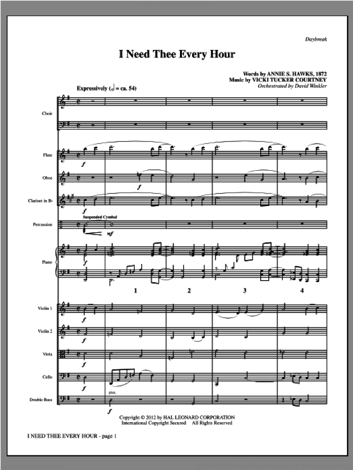 I Need Thee Every Hour (complete set of parts) sheet music for orchestra/band by Vicki Tucker Courtney and Annie S. Hawks, intermediate. Score Image Preview.