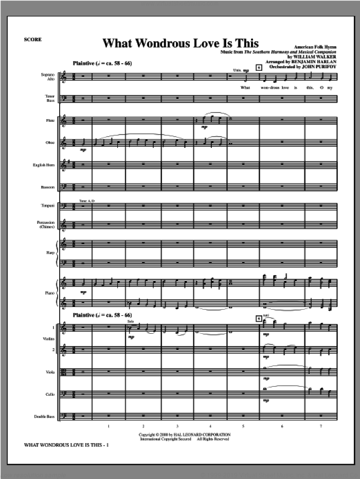 What Wondrous Love Is This (see Bonustrax 00102360) (complete set of parts) sheet music for orchestra/band (Orchestra) by Benjamin Harlan and Miscellaneous, intermediate. Score Image Preview.