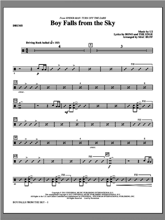 Boy Falls From The Sky (from Spider-Man: Turn Off the Dark) sheet music for orchestra/band (drums) by U2