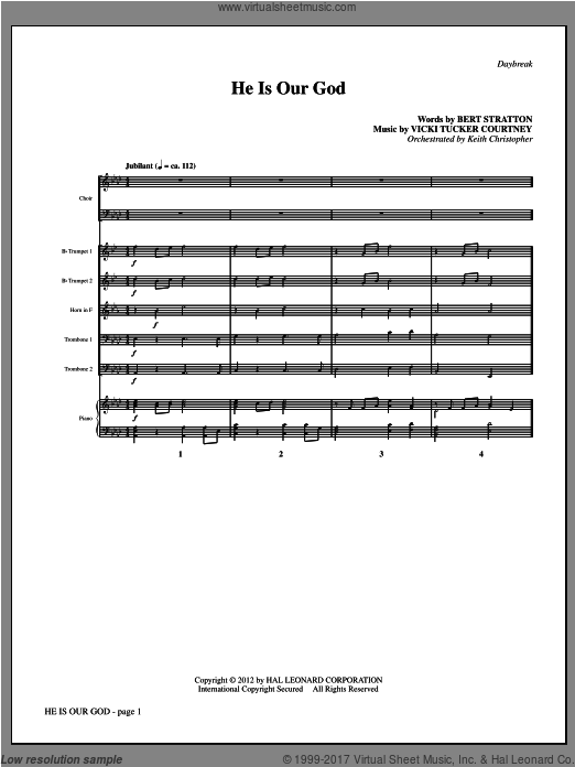 He Is Our God (COMPLETE) sheet music for orchestra by Vicki Tucker Courtney