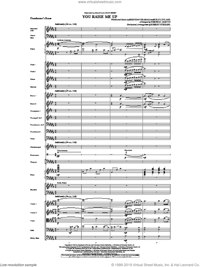 You Raise Me Up (complete set of parts) sheet music for orchestra/band by Josh Groban, Brendan Graham, Joseph M. Martin and Rolf Lovland, intermediate. Score Image Preview.