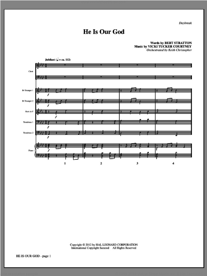 He Is Our God (complete set of parts) sheet music for orchestra/band (Brass) by Vicki Tucker Courtney and Bert Stratton, intermediate skill level