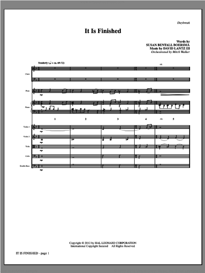 It Is Finished (complete set of parts) sheet music for orchestra/band by David Lantz and Susan Boersma, intermediate skill level