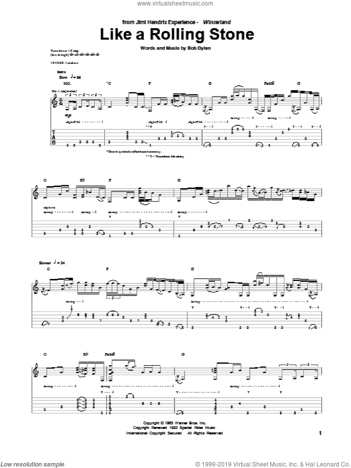 Like A Rolling Stone sheet music for guitar (tablature) by Jimi Hendrix and Bob Dylan, intermediate