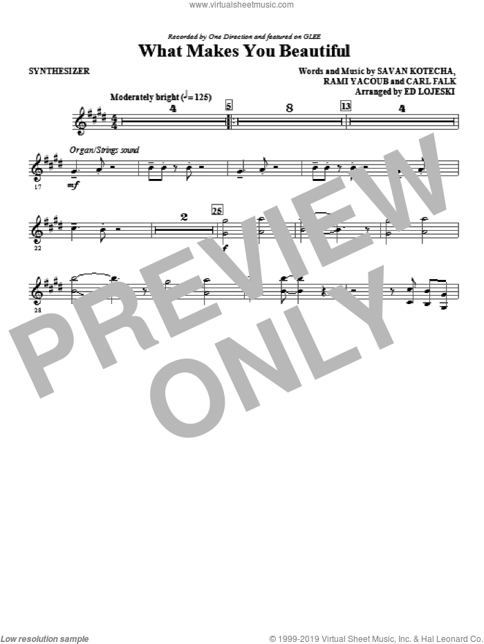 What Makes You Beautiful (complete set of parts) sheet music for orchestra/band (Rhythm Parts) by Ed Lojeski, Carl Falk, Rami, Savan Kotecha, Glee Cast and One Direction, intermediate skill level