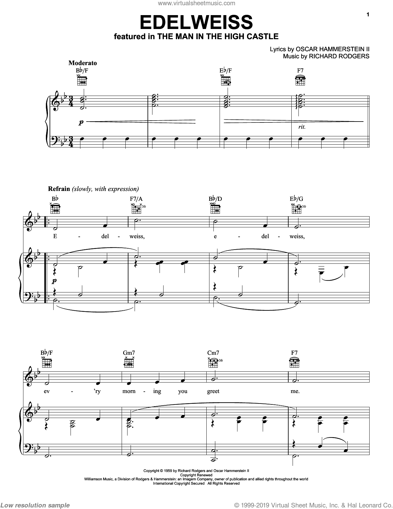 Rodgers and Hammerstein (complete set of parts) sheet music for voice, piano or guitar by Rodgers & Hammerstein, Oklahoma! (Musical), Oscar II Hammerstein, Richard Rodgers, South Pacific (Musical), State Fair (Musical), The King And I (Musical) and The Sound Of Music (Musical), intermediate skill level