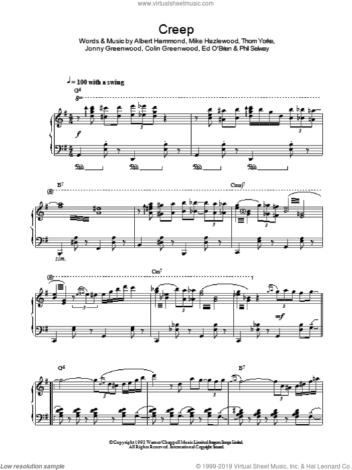 Creep (Jazz Version) sheet music for piano solo by Thom Yorke, Radiohead, Albert Hammond, Colin Greenwood and Michael Hazlewood