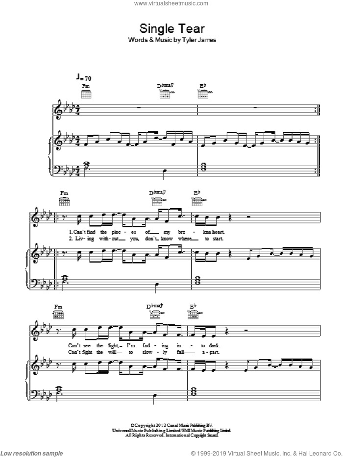 Single Tear sheet music for voice, piano or guitar by Tyler James
