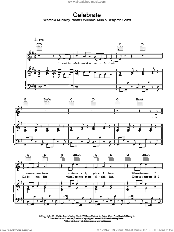 Celebrate sheet music for voice, piano or guitar by Mika and Pharrell Williams, intermediate