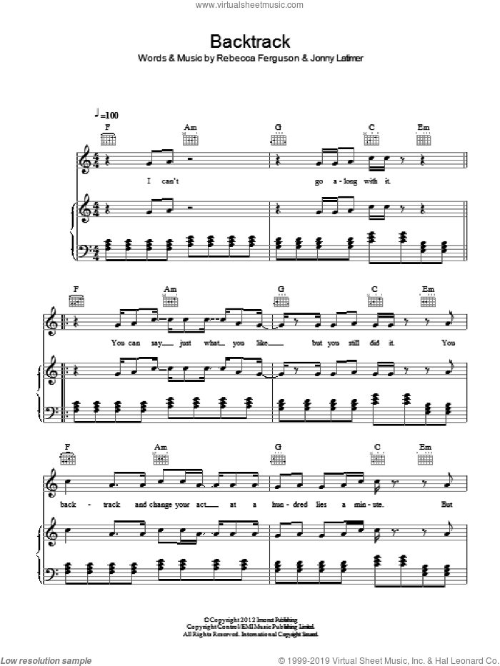 Backtrack sheet music for voice, piano or guitar by Jonny Latimer. Score Image Preview.